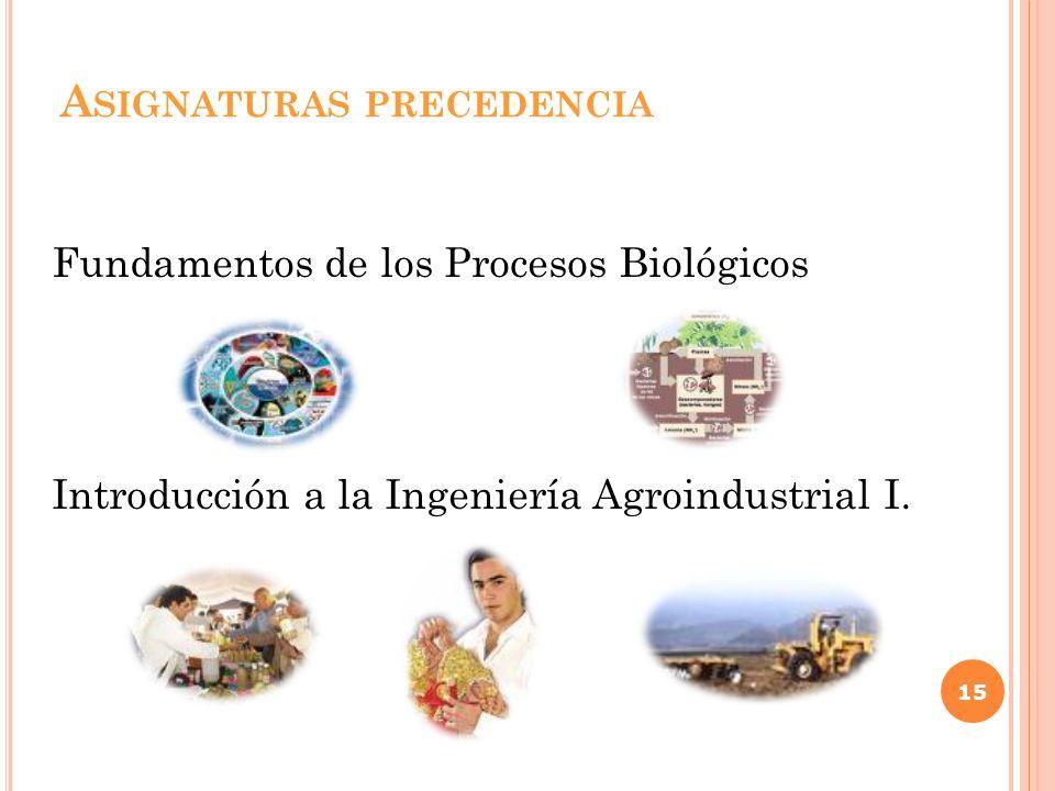 A SIGNATURAS PRECEDENCIA Fundamentos de los Procesos Biológicos Introducción a la Ingeniería Agroindustrial I. 15