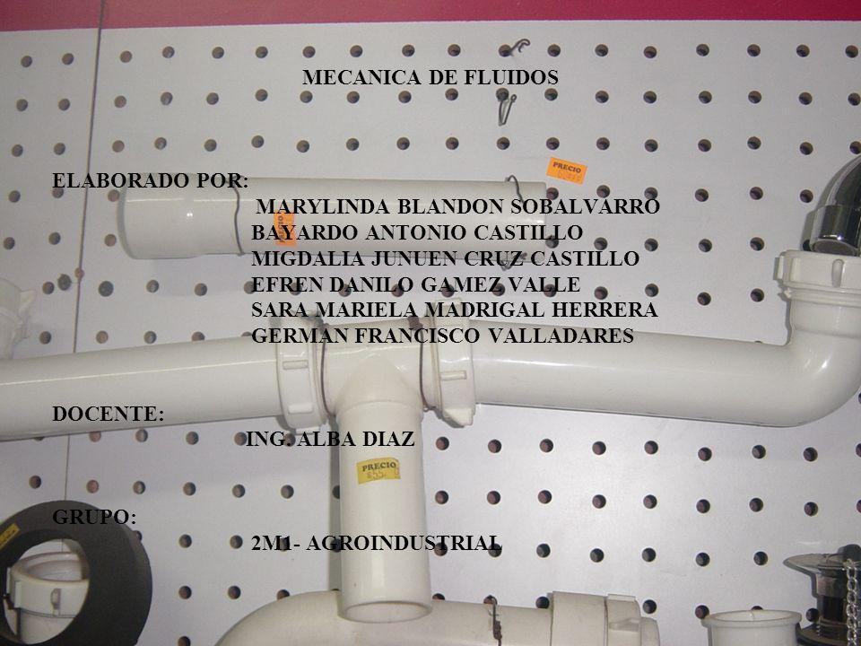 MECANICA DE FLUIDOS ELABORADO POR: MARYLINDA BLANDON SOBALVARRO BAYARDO ANTONIO CASTILLO MIGDALIA JUNUEN CRUZ CASTILLO EFREN DANILO GAMEZ VALLE SARA M