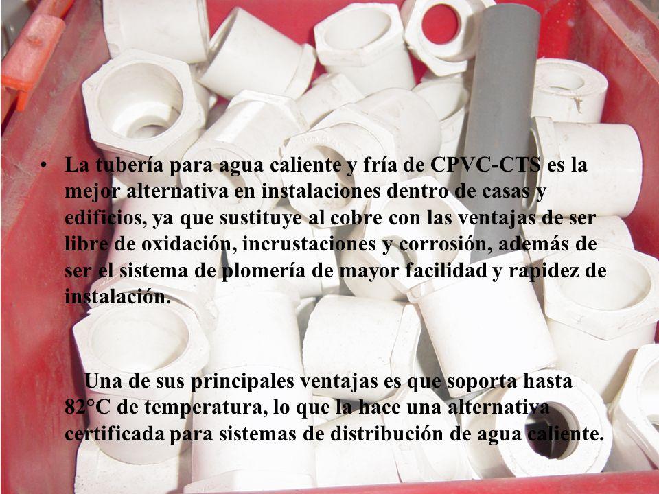 La tubería para agua caliente y fría de CPVC-CTS es la mejor alternativa en instalaciones dentro de casas y edificios, ya que sustituye al cobre con l