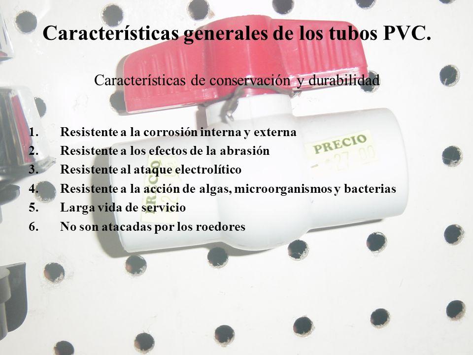 Características generales de los tubos PVC. Características de conservación y durabilidad 1.Resistente a la corrosión interna y externa 2.Resistente a