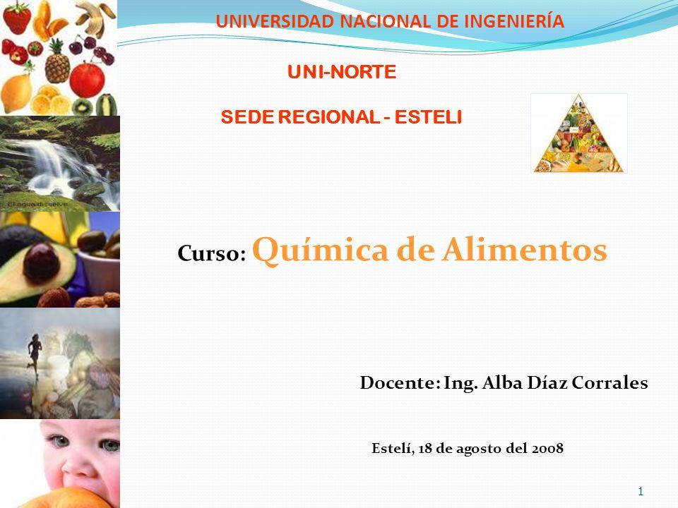 UNIVERSIDAD NACIONAL DE INGENIERÍA Curso: Química de Alimentos Docente: Ing. Alba Díaz Corrales Estelí, 18 de agosto del 2008 1 UNI-NORTE SEDE REGIONA
