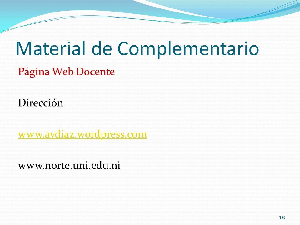 Material de Complementario Página Web Docente Dirección www.avdiaz.wordpress.com www.norte.uni.edu.ni 18