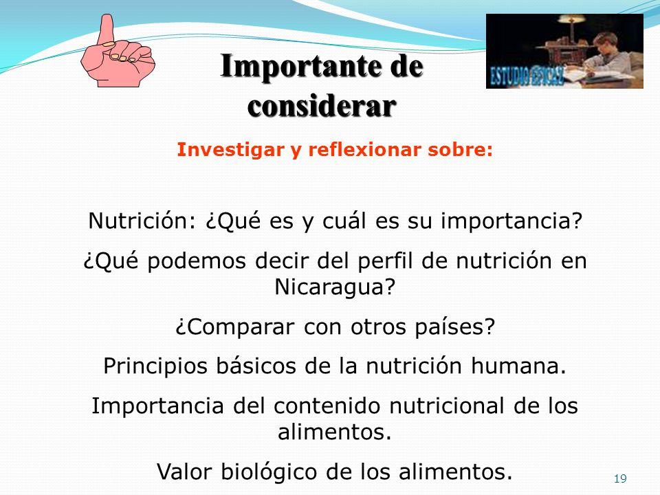 19 Importante de considerar Investigar y reflexionar sobre: Nutrición: ¿Qué es y cuál es su importancia? ¿Qué podemos decir del perfil de nutrición en