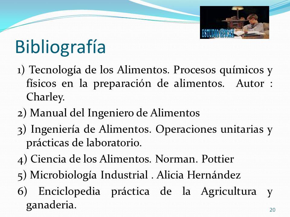 Bibliografía 1) Tecnología de los Alimentos. Procesos químicos y físicos en la preparación de alimentos. Autor : Charley. 2) Manual del Ingeniero de A