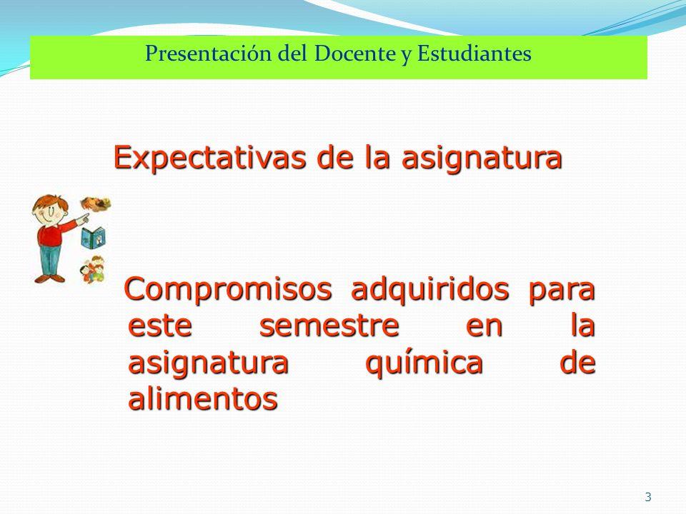 Presentación del Docente y Estudiantes 3 Expectativas de la asignatura Expectativas de la asignatura Compromisos adquiridos para este semestre en la a