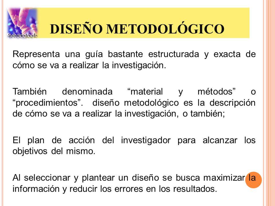 DISEÑO METODOLÓGICO Representa una guía bastante estructurada y exacta de cómo se va a realizar la investigación. También denominada material y método