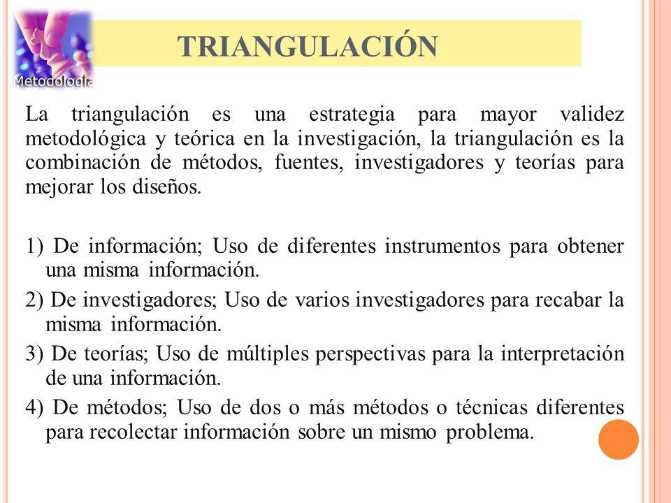 TRIANGULACIÓN La triangulación es una estrategia para mayor validez metodológica y teórica en la investigación, la triangulación es la combinación de