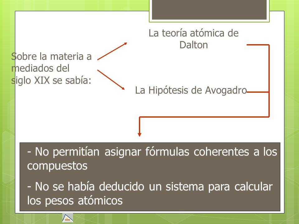 Sobre la materia a mediados del siglo XIX se sabía: La teoría atómica de Dalton La Hipótesis de Avogadro - No permitían asignar fórmulas coherentes a