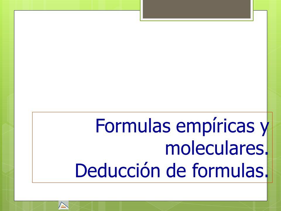 Formulas empíricas y moleculares. Deducción de formulas.