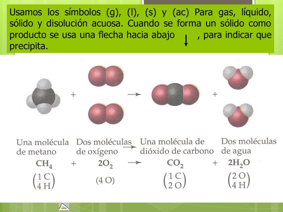 Usamos los símbolos (g), (l), (s) y (ac) Para gas, líquido, sólido y disolución acuosa. Cuando se forma un sólido como producto se usa una flecha haci