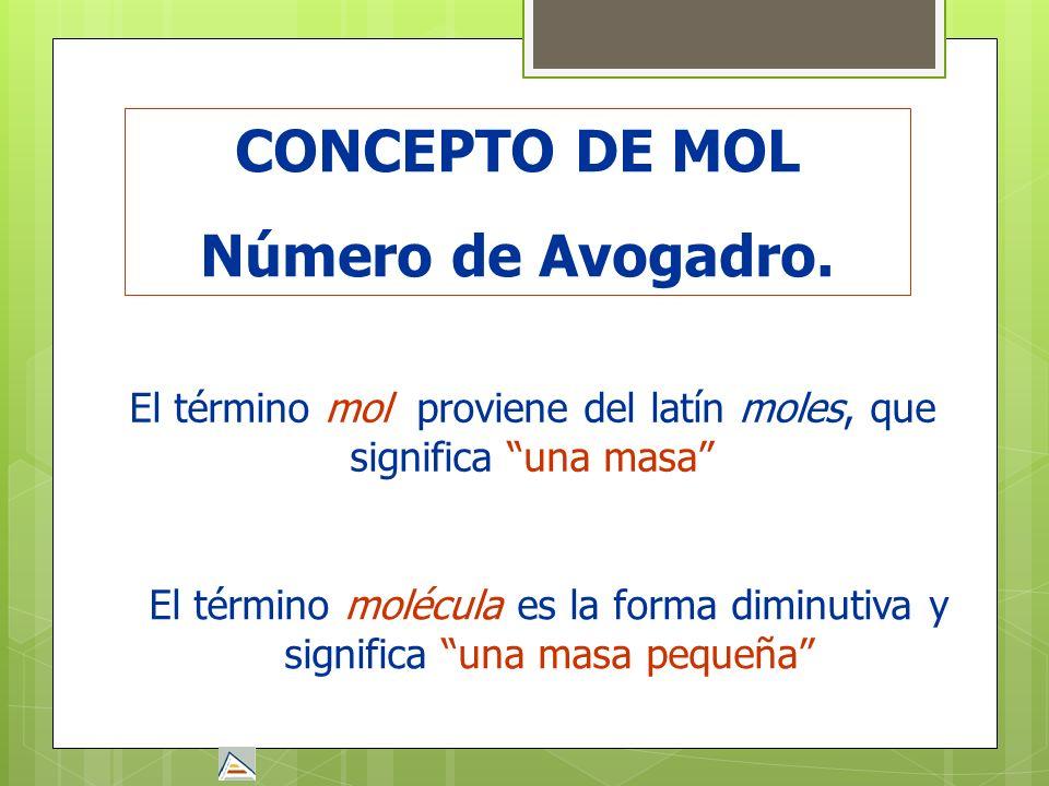 CONCEPTO DE MOL Número de Avogadro. El término mol proviene del latín moles, que significa una masa El término molécula es la forma diminutiva y signi