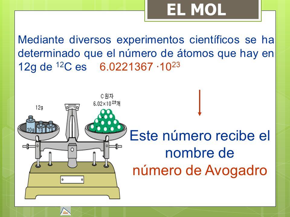 EL MOL Mediante diversos experimentos científicos se ha determinado que el número de átomos que hay en 12g de 12 C es 6.0221367 ·10 23 Este número rec