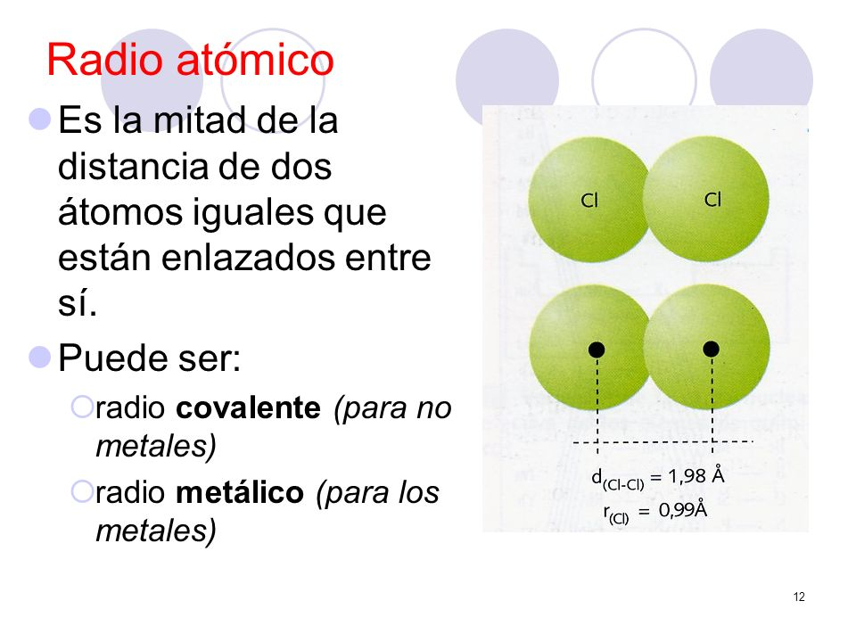 12 Radio atómico Es la mitad de la distancia de dos átomos iguales que están enlazados entre sí. Puede ser: radio covalente (para no metales) radio me