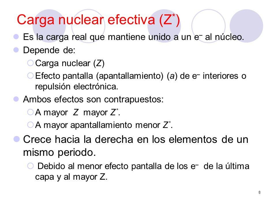 8 Carga nuclear efectiva (Z * ) Es la carga real que mantiene unido a un e – al núcleo. Depende de: Carga nuclear (Z) Efecto pantalla (apantallamiento