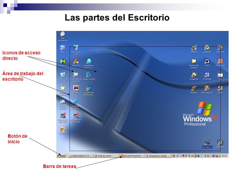 Las partes del Escritorio Iconos de acceso directo Barra de tareas Botón de inicio Área de trabajo del escritorio