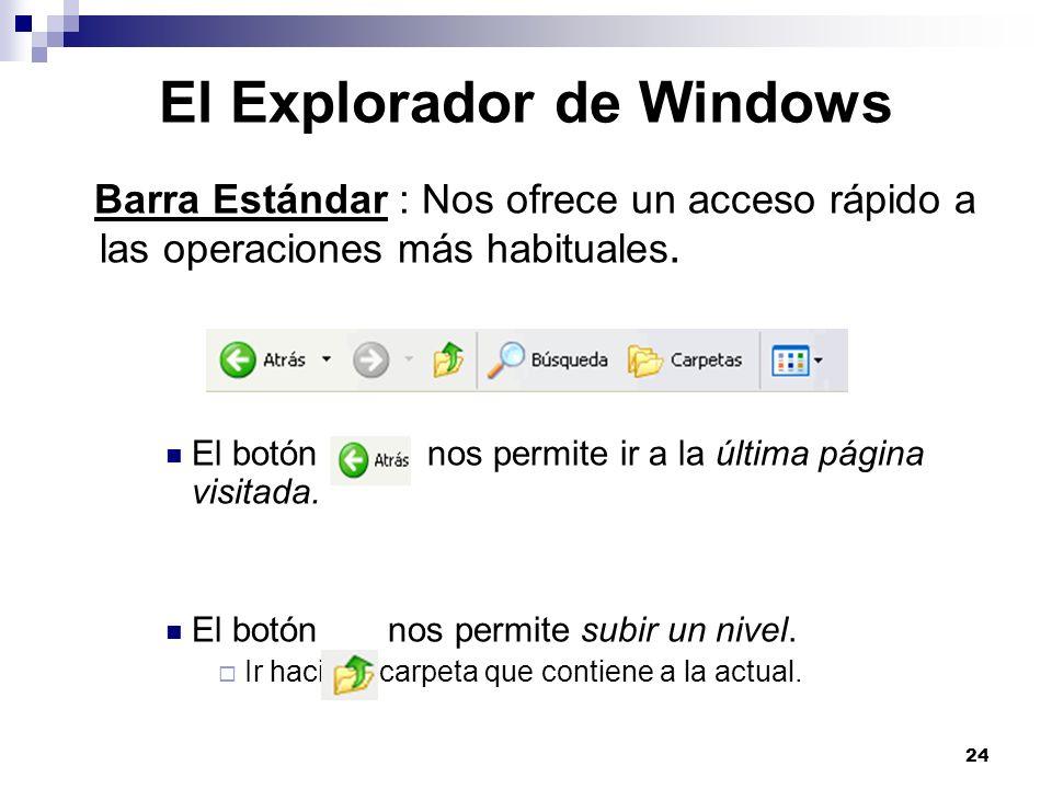24 El Explorador de Windows Barra Estándar : Nos ofrece un acceso rápido a las operaciones más habituales. El botón nos permite ir a la última página