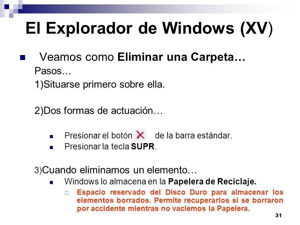 31 El Explorador de Windows (XV) Veamos como Eliminar una Carpeta… Pasos… 1)Situarse primero sobre ella. 2)Dos formas de actuación… Presionar el botón
