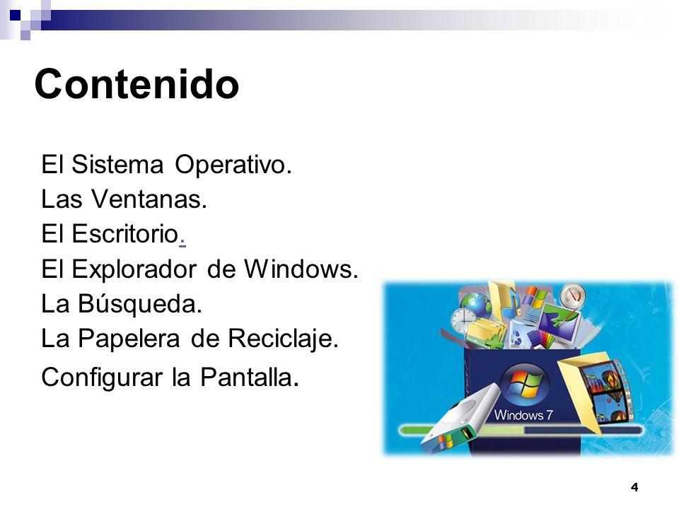 4 Contenido El Sistema Operativo. Las Ventanas. El Escritorio.. El Explorador de Windows. La Búsqueda. La Papelera de Reciclaje. Configurar la Pantall