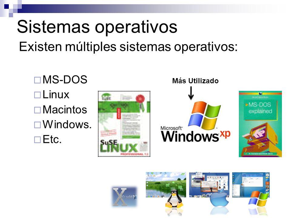 Sistemas operativos Existen múltiples sistemas operativos: MS-DOS Linux Macintos Windows. Etc. Más Utilizado