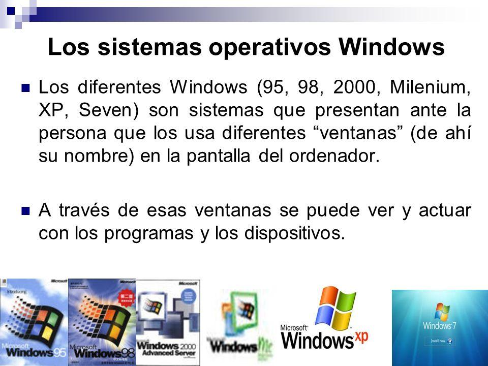 Los sistemas operativos Windows Los diferentes Windows (95, 98, 2000, Milenium, XP, Seven) son sistemas que presentan ante la persona que los usa dife