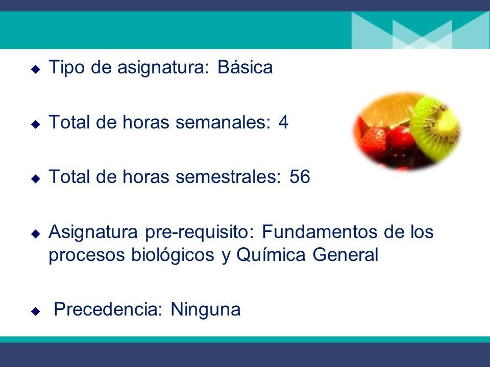 Tipo de asignatura: Básica Total de horas semanales: 4 Total de horas semestrales: 56 Asignatura pre-requisito: Fundamentos de los procesos biológicos y Química General Precedencia: Ninguna