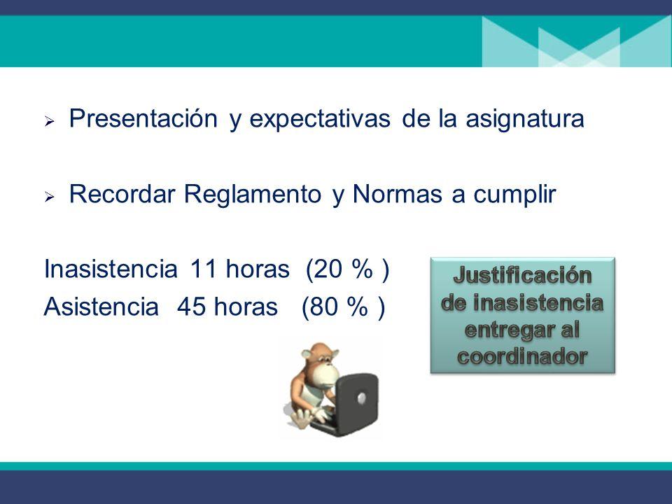 Presentación y expectativas de la asignatura Recordar Reglamento y Normas a cumplir Inasistencia 11 horas (20 % ) Asistencia 45 horas (80 % )