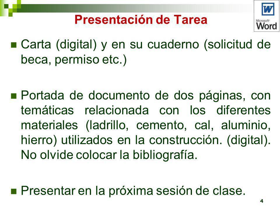 Presentación de Tarea Carta (digital) y en su cuaderno (solicitud de beca, permiso etc.) Portada de documento de dos páginas, con temáticas relacionad