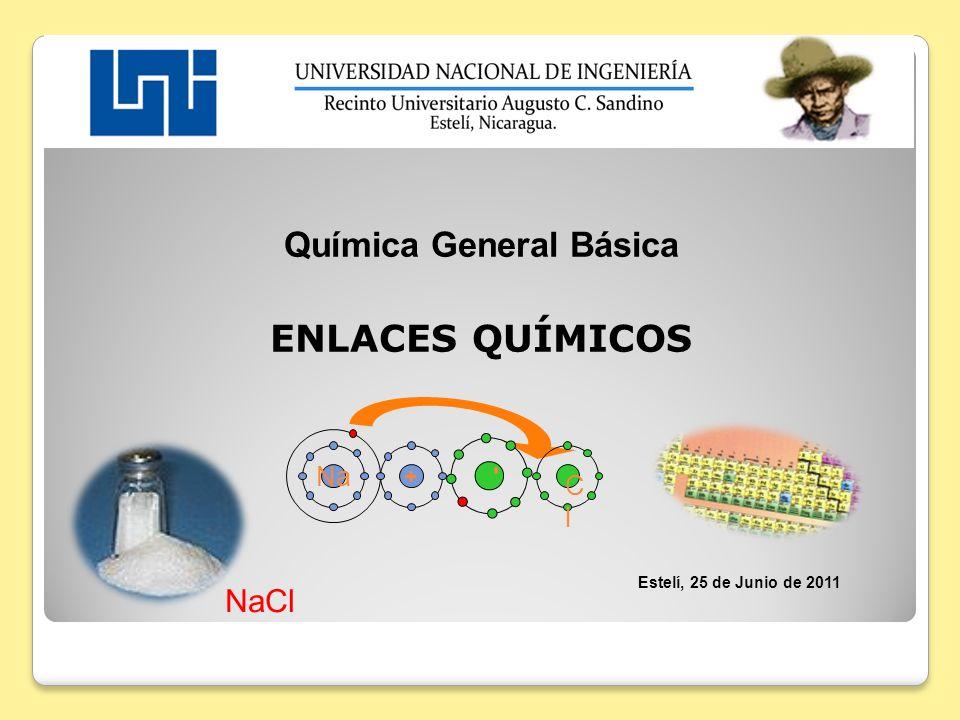 Química General Básica ENLACES QUÍMICOS Estelí, 25 de Junio de 2011 NaCl Na ClCl + -