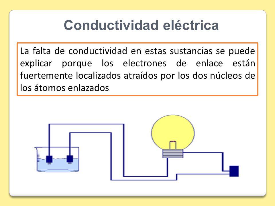 Conductividad eléctrica La falta de conductividad en estas sustancias se puede explicar porque los electrones de enlace están fuertemente localizados