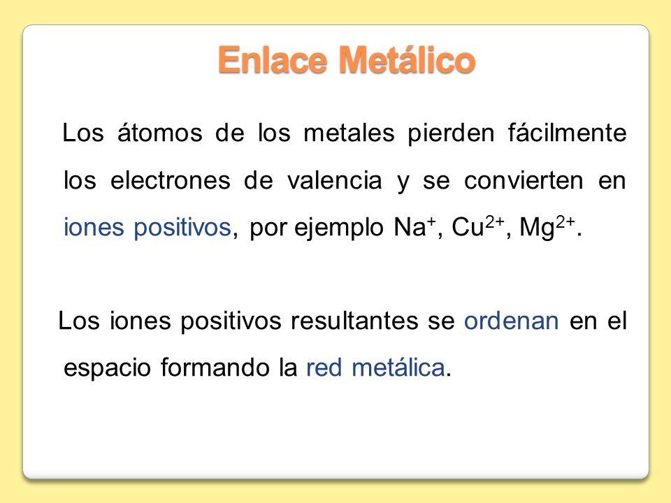 Enlace Metálico Los átomos de los metales pierden fácilmente los electrones de valencia y se convierten en iones positivos, por ejemplo Na +, Cu 2+, M