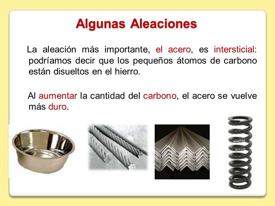 Algunas Aleaciones La aleación más importante, el acero, es intersticial: podríamos decir que los pequeños átomos de carbono están disueltos en el hie