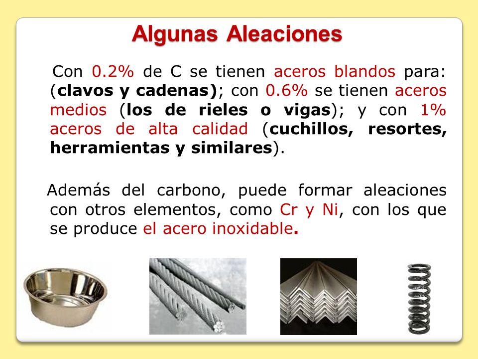 Algunas Aleaciones Con 0.2% de C se tienen aceros blandos para: (clavos y cadenas); con 0.6% se tienen aceros medios (los de rieles o vigas); y con 1%