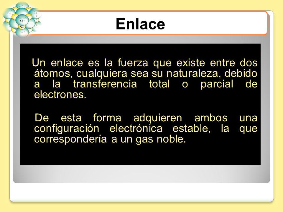 Un enlace es la fuerza que existe entre dos átomos, cualquiera sea su naturaleza, debido a la transferencia total o parcial de electrones. De esta for