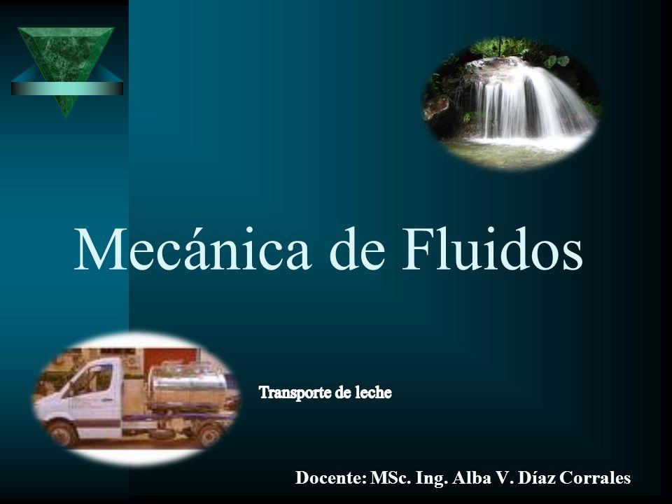 Mecánica de Fluidos Docente: MSc. Ing. Alba V. Díaz Corrales