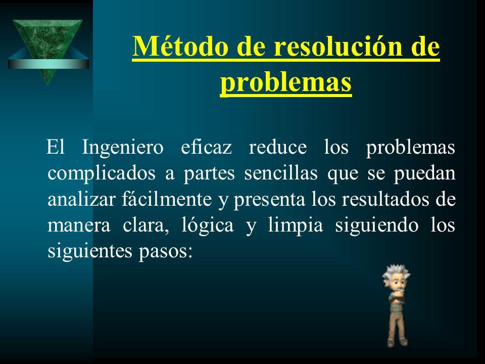 Método de resolución de problemas El Ingeniero eficaz reduce los problemas complicados a partes sencillas que se puedan analizar fácilmente y presenta