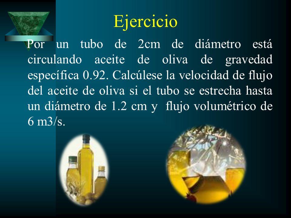Ejercicio Por un tubo de 2cm de diámetro está circulando aceite de oliva de gravedad específica 0.92. Calcúlese la velocidad de flujo del aceite de ol