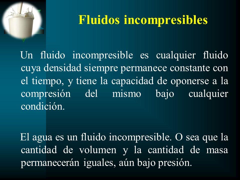 Fluidos incompresibles Un fluido incompresible es cualquier fluido cuya densidad siempre permanece constante con el tiempo, y tiene la capacidad de op