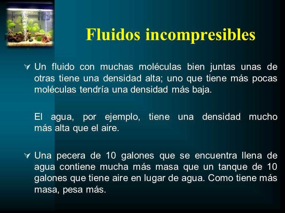 Fluidos incompresibles Un fluido con muchas moléculas bien juntas unas de otras tiene una densidad alta; uno que tiene más pocas moléculas tendría una