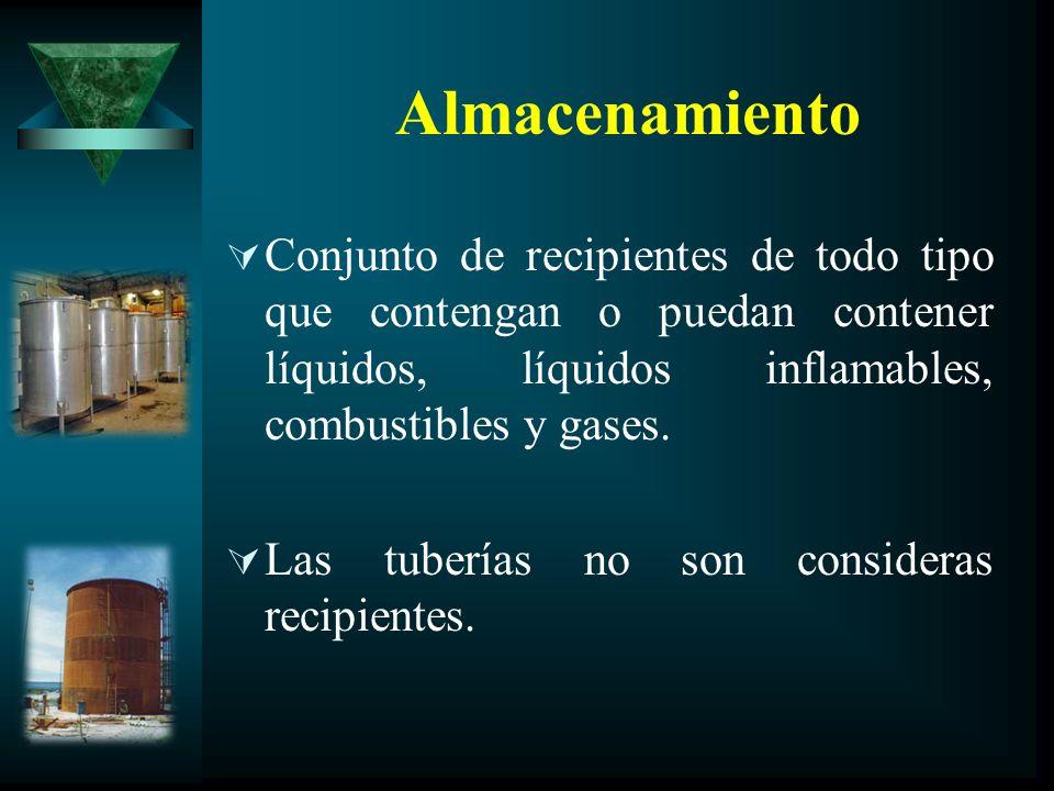 Almacenamiento Conjunto de recipientes de todo tipo que contengan o puedan contener líquidos, líquidos inflamables, combustibles y gases. Las tuberías