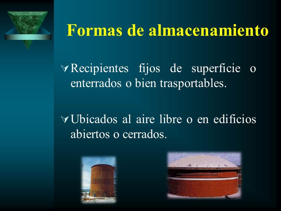 Formas de almacenamiento Recipientes fijos de superficie o enterrados o bien trasportables. Ubicados al aire libre o en edificios abiertos o cerrados.
