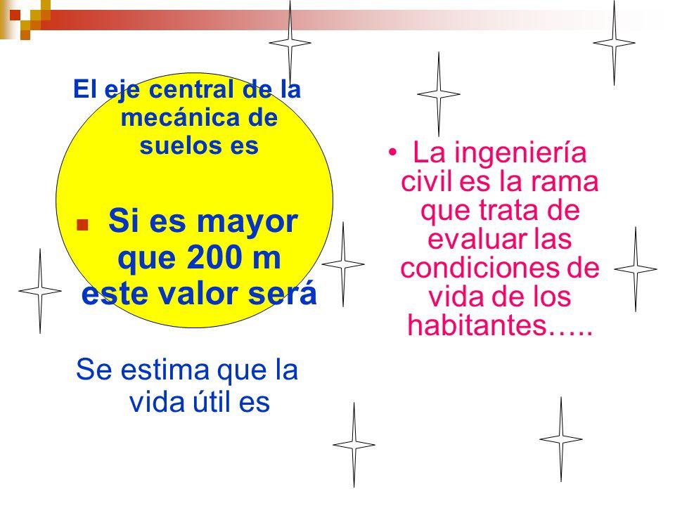 El eje central de la mecánica de suelos es Si es mayor que 200 m este valor será Se estima que la vida útil es La ingeniería civil es la rama que trat