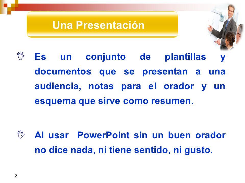 Es un conjunto de plantillas y documentos que se presentan a una audiencia, notas para el orador y un esquema que sirve como resumen. Al usar PowerPoi