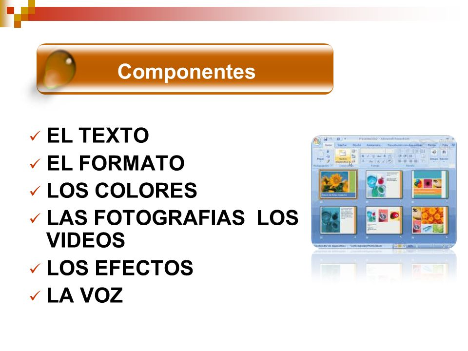 EL TEXTO EL FORMATO LOS COLORES LAS FOTOGRAFIAS LOS VIDEOS LOS EFECTOS LA VOZ COMPONENTES Componentes