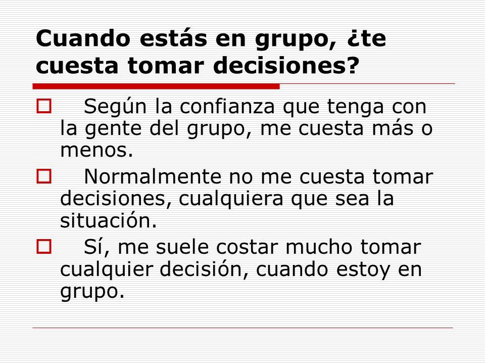 Cuando estás en grupo, ¿te cuesta tomar decisiones? Según la confianza que tenga con la gente del grupo, me cuesta más o menos. Normalmente no me cues