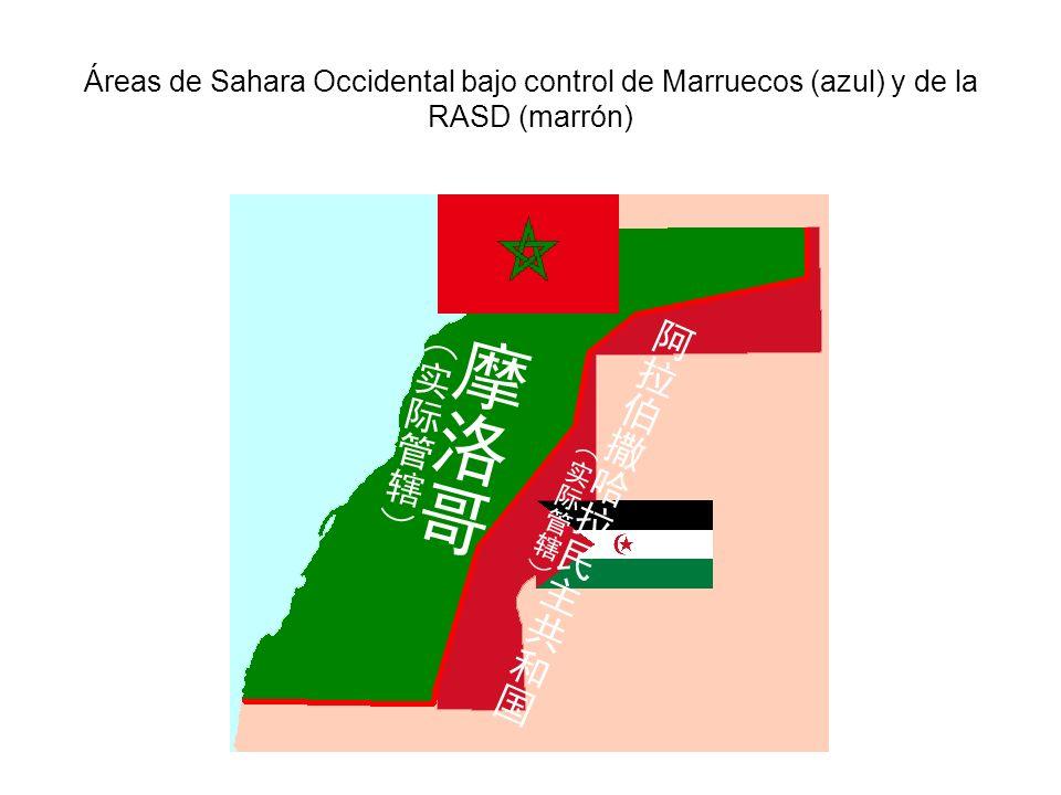 Áreas de Sahara Occidental bajo control de Marruecos (azul) y de la RASD (marrón)
