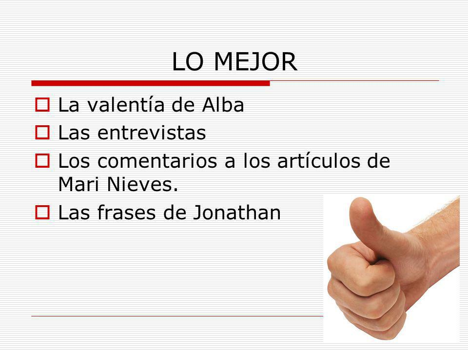 LO MEJOR La valentía de Alba Las entrevistas Los comentarios a los artículos de Mari Nieves. Las frases de Jonathan