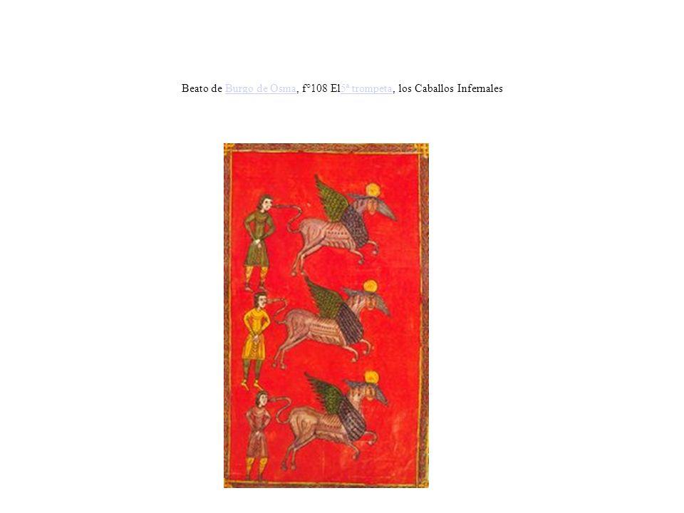 Beato de Burgo de Osma, f°108 El5ª trompeta, los Caballos InfernalesBurgo de Osma5ª trompeta