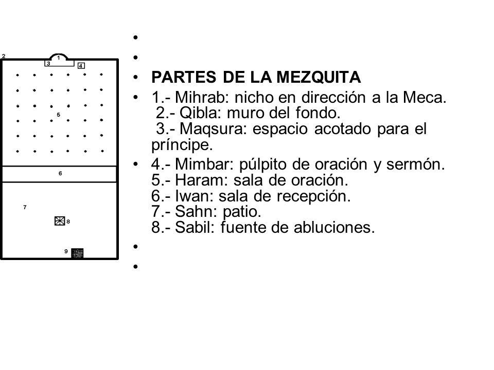 PARTES DE LA MEZQUITA 1.- Mihrab: nicho en dirección a la Meca. 2.- Qibla: muro del fondo. 3.- Maqsura: espacio acotado para el príncipe. 4.- Mimbar: