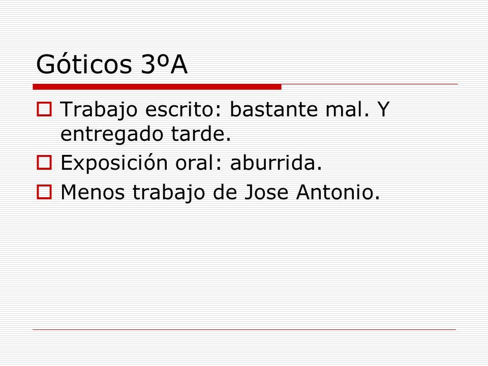 Góticos 3ºA Trabajo escrito: bastante mal. Y entregado tarde. Exposición oral: aburrida. Menos trabajo de Jose Antonio.