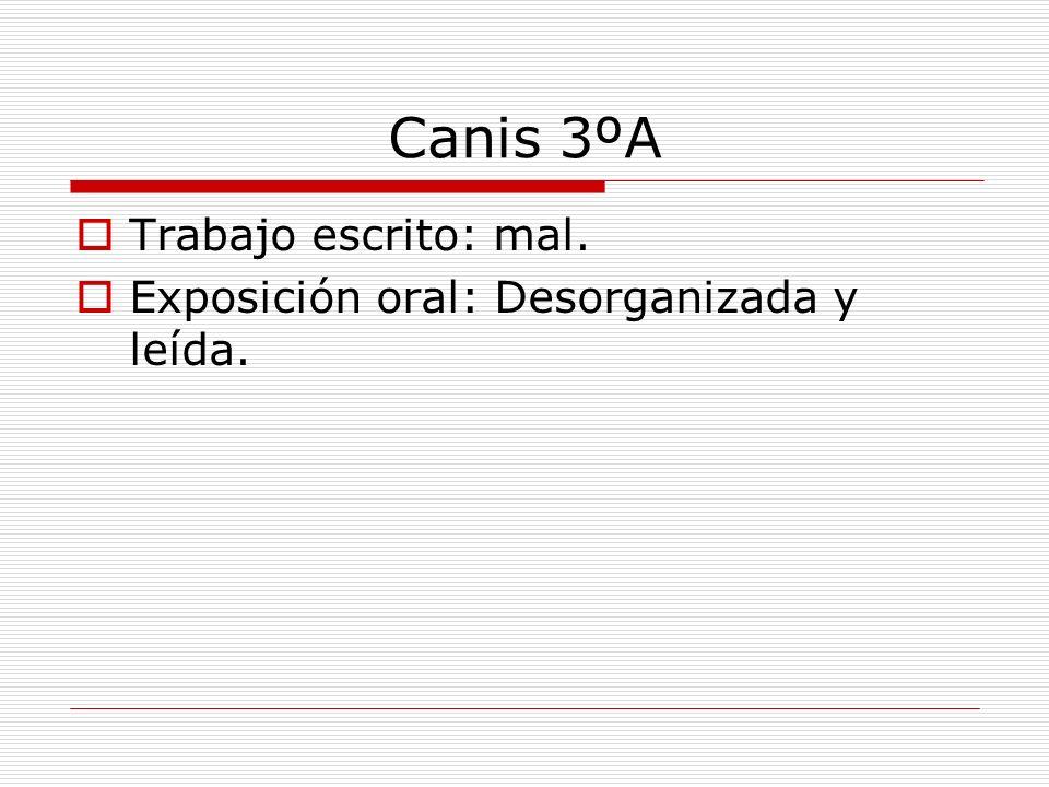 Canis 3ºA Trabajo escrito: mal. Exposición oral: Desorganizada y leída.